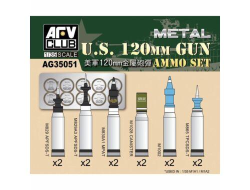 AFV-Club US M1A1/M1A2 M256 120mm Ammo set(Aluminum) 1:35 (AG35051)