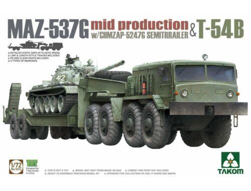 Takom MAZ-537G w/ChMZAP-5247G Semi-trailer mid production & T-54B 1:72 (TAK5013)