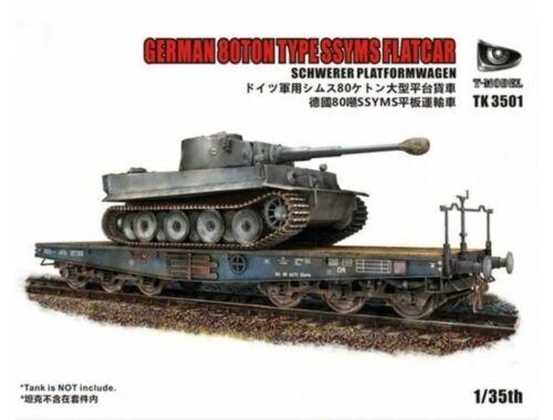 T-Model German 80Ton Type SSYMS Flatcar Schwerer Platformwagen(Tank not incude 1:35 (TK3501)