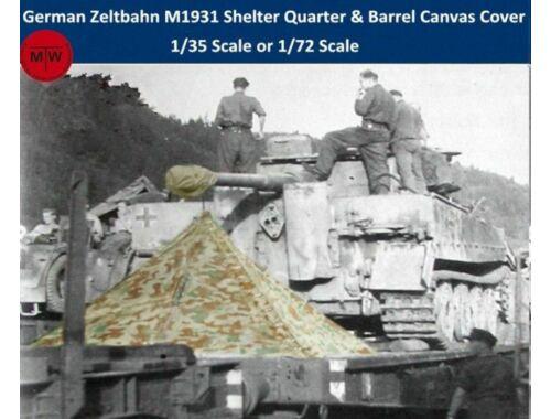 T-Model WWII German Zeltbahn M1931 Shelter Quarter & Barrel Canvas Cover Resin Kits 1:72 (A72010)