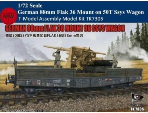 T-Model German 88mm FLAK 36 MOUNT ON SSYS WAGON 1:72 (TK7305E)