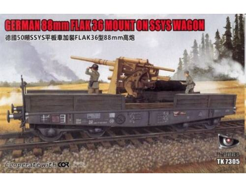 T-Model German 88mm FLAK 36 MOUNT ON SSYS WAGON 1:72 (TK7305)