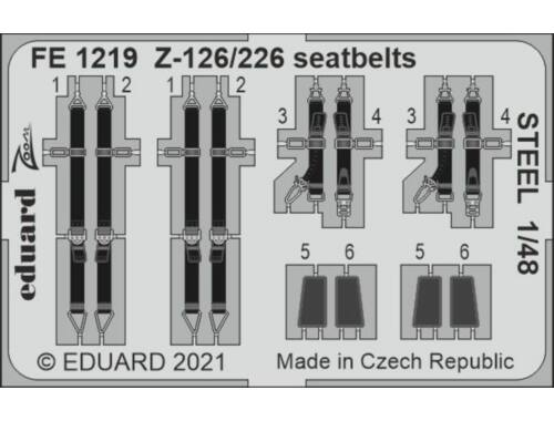 Eduard Z-126/226 seatbelts STEEL 1/48 EDUARD 1:48 (FE1219)