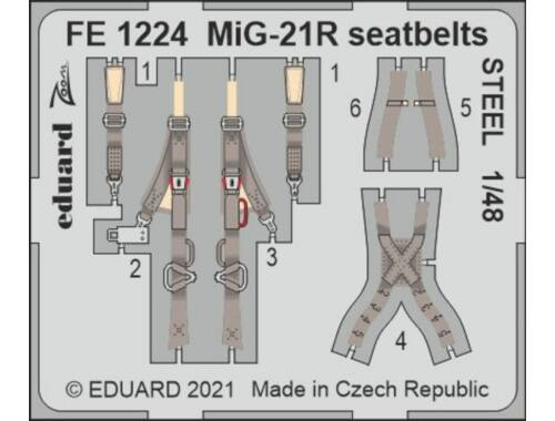 Eduard MiG-21R seatbelts STEEL 1/48 EDUARD 1:48 (FE1224)