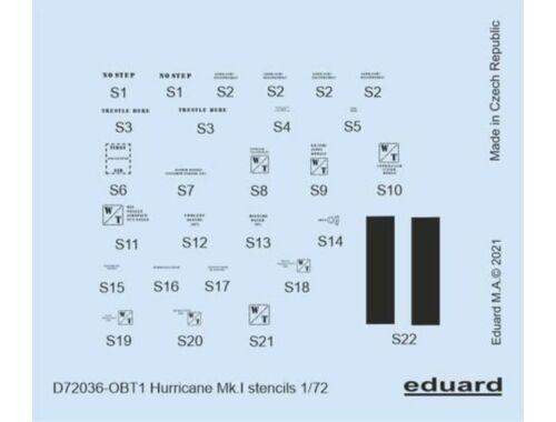 Eduard Hurricane Mk.I stencils for ARMA HOBBY/REVELL/AIRFIX 1:72 (D72036)