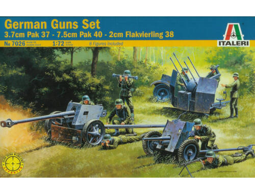 Italeri German guns set:pak35-pak40-flak38 1:72 (7026)