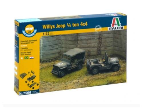 Italeri Willys Jeep 1/4 ton 4x4 2in1 Fast Assembly Kit 1:72 (7506)