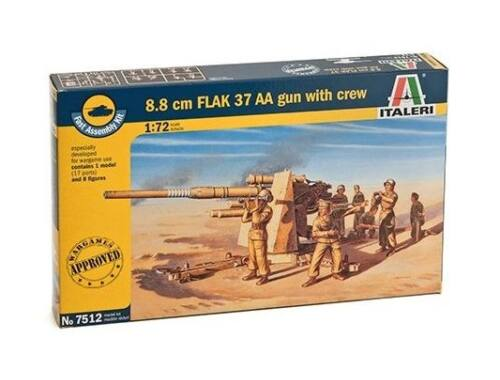 Italeri 8.8 cm Flak 37 AA Gun with Crew Fast Assembly Kit 1:72 (7512)
