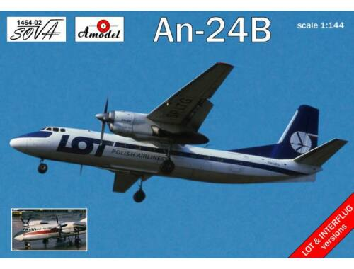 Amodel Antonov An-24B Polish/DDR airlines 1:144 (1464-02)