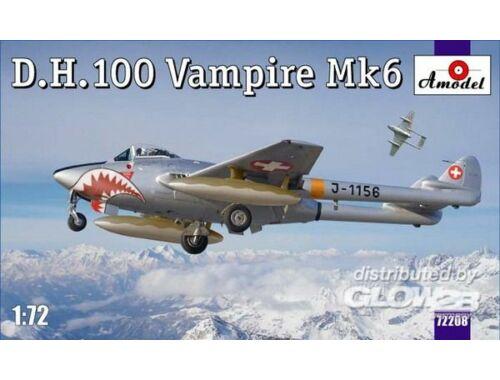 Amodel D.H.100 Vampire Mk6 RAF jet fighter 1:72 (72208)