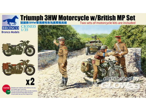 Bronco Triumph 3HW Motocycle w/MP Figure Set 1:35 (CB35035)