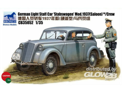 Bronco German Light Staff Car Stabswagen Mod. 1937(Saloon)w/crew (2 Figures) 1:35 (CB35052)