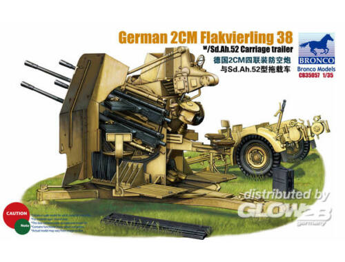 Bronco German 2cm Flakvierling 38 w/trailer 1:35 (CB35057)