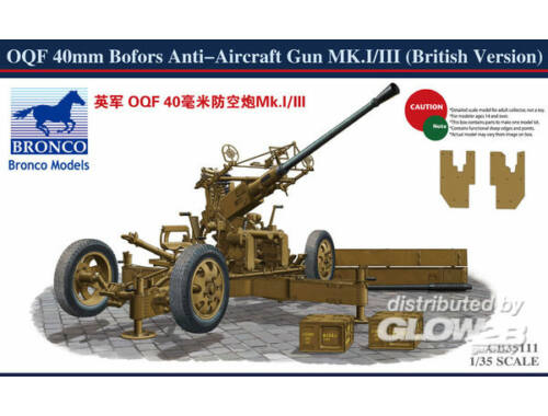 Bronco OQF 40mm Bofors Anti-aircraft Gun(Britis 1:35 (CB35111)