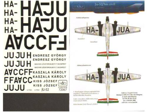 HADmodels Ju-52 Military matrica 1:144 (144030)