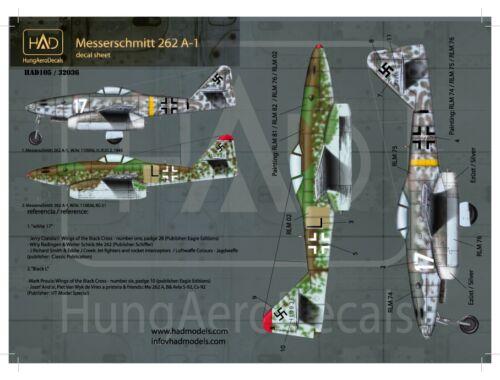 HADmodels Me 262A-1 matrica 1:48 (48105)