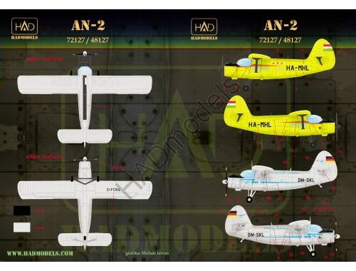 HADmodels An-2 (Lufthansa, MALÉV) matrica 1:48 (48127)