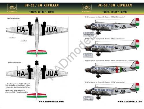 HADmodels Ju-52 Civil matrica 1:72 (72130)