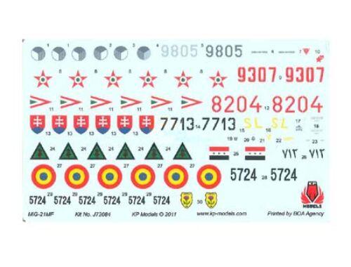 KP Mig-21MF Decal Set (6 Colors) 1:72 (D7201)