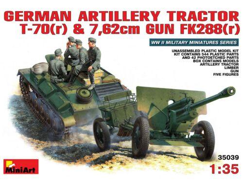 Miniart German Artillery Tractor T-70 (r)   Gun w/Crew 1:35 (35039)