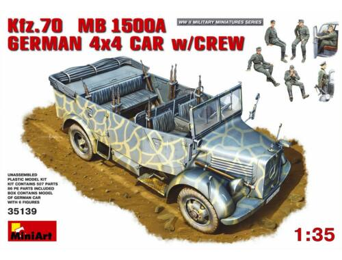 Miniart Kfz.70 (MB 1500A) German 4x4 Car w/Crew 1:35 (35139)