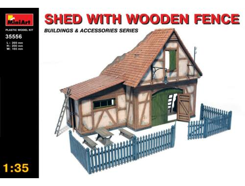 Miniart Shed with Wooden Fence 1:35 (35556)
