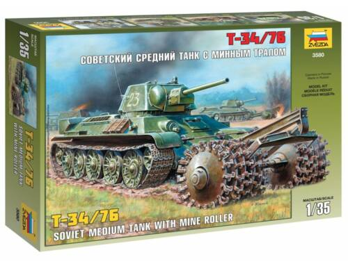 Zvezda T-34/76 Soviet Tank with Mine Roller 1:35 (3580)