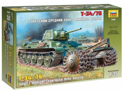 Zvezda T-34/76 Soviet Tank with Mine Roller 1:35 (3580)