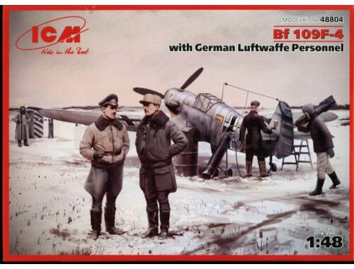 ICM Bf 109F-4 with German Luftwaffe stuff 1:48 (48804)