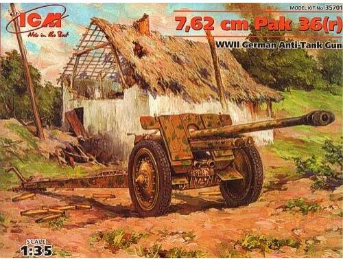 ICM 7.62 cm Pak 36 (r) WWII German Anti-Tank Gun 1:35 (35701)