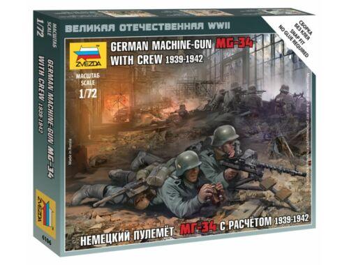 Zvezda German Machine-Gun MG-34 with Crew 1939-1942 1:72 (6106)