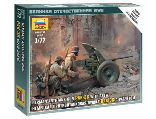 Zvezda German Anti-Tank Gun PAK-36 with Crew 1:72 (6114)