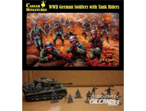 Caesar WWII German Soldiers with Tank Riders 1:72 (H077)