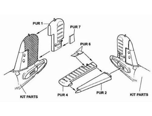 CMK F4U-1 - control surfaces set for TAM 1:48 (4073)