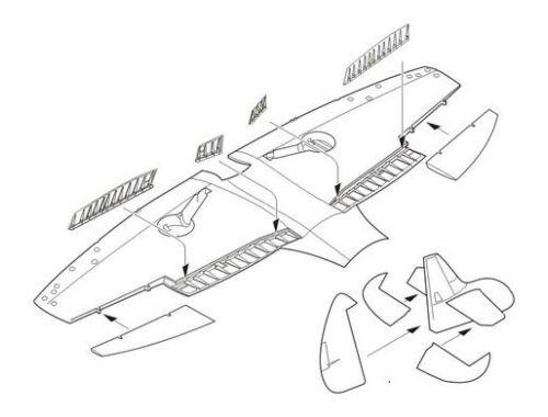 CMK Spitfire PR Mk.XIX - Control surfaces set for 1:72 (7238)