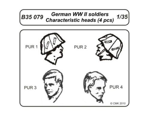 CMK German WWII soldiers-character.heads 4 pcs 1:35 (B35079)