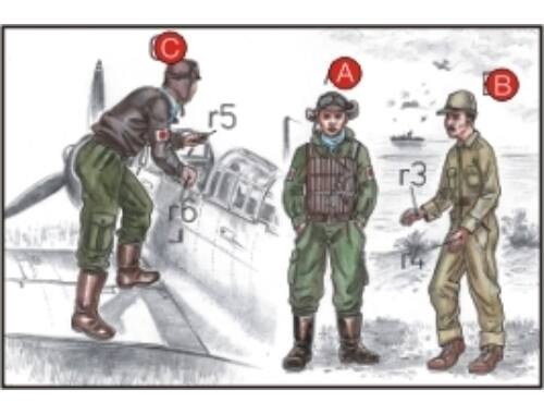 CMK Japanese Navy Pilots (2 fig.) And Mechanics W 1:72 (F72043)