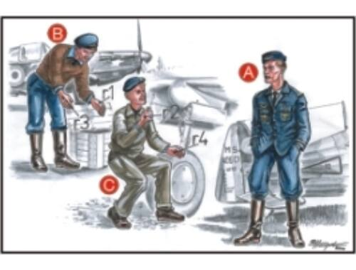 CMK French Mechanics (2 fig.) And Pilot WW II 1:72 (F72046)