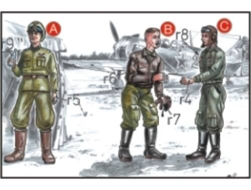 CMK Soviet Pilots (2 fig.) And Mechanic WW II 1:72 (F72047)
