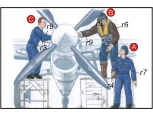 CMK Royal Navy Pilots (2 fig.) And Mechanic WW II 1:72 (F72048)