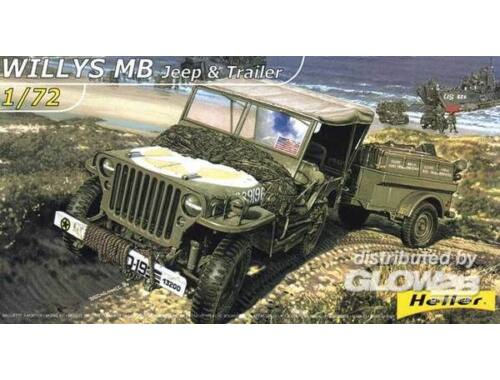 Heller Willys MB Jeep   Trailer 1:72 (79997)