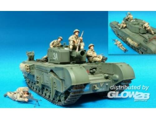 Hobby Fan Brit. Inf. Riding w/Churchill Tank- 4Fig 1:35 (HF590)