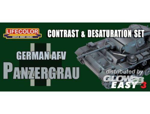 Lifecolor Paint Set Germ.AFV Panzergrau Contr. Desaturat. (MS02)