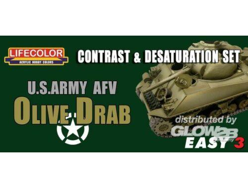 Lifecolor Paint Set US Army AFV Oliv Drab Contr. Desaturat. (MS03)