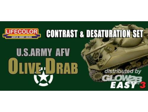 Lifecolor Paint Set US Army AFV Oliv Drab Contr. Desaturat. (MS03)