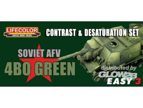 Lifecolor Paint Set Sov.AFV 4B0 Green Contr. Desaturat.Set (MS04)