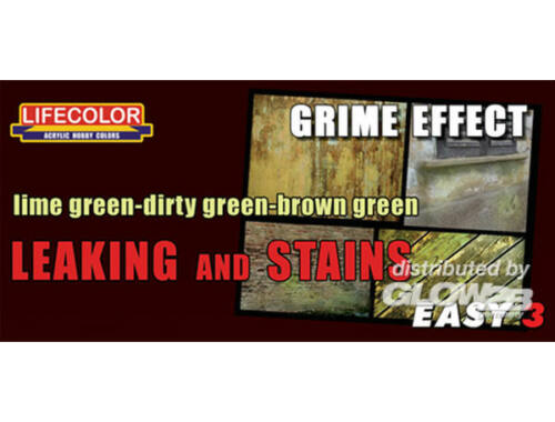 Lifecolor Paint Set Leaking and stains lime-dirty-brown gree (MS11)