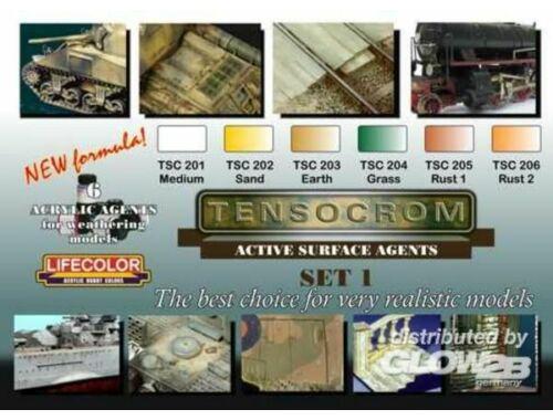 Lifecolor Box of 6 acrylic agents for weathering set1 (TSC01)