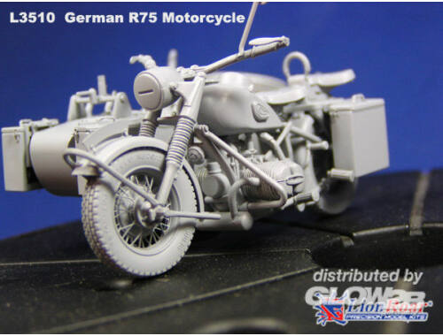 Lion Roar WWII German BMW R75 with Sidecar /w trailers 1:35 (L3510)