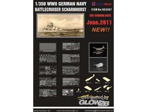 Lion Roar WWII German Navy Battlecr.Scharnh. f/DML 1:350 (RS3507)